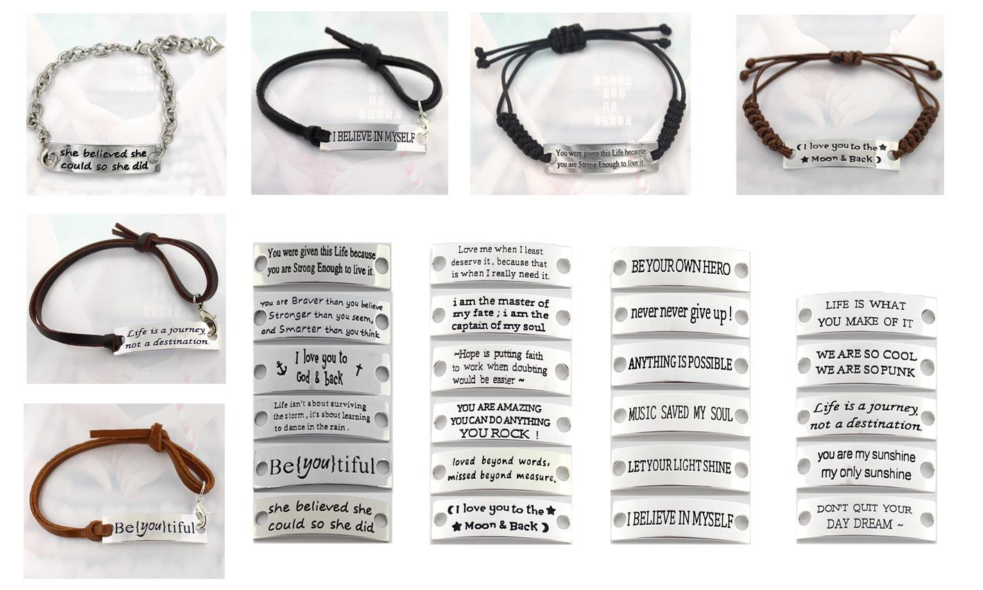 Pulsera inspiradora estampada Eosmer: Usted es increíble, puede hacer cualquier cita pulsera inspiradora inspiradora pulsera de regalo / envío gratis