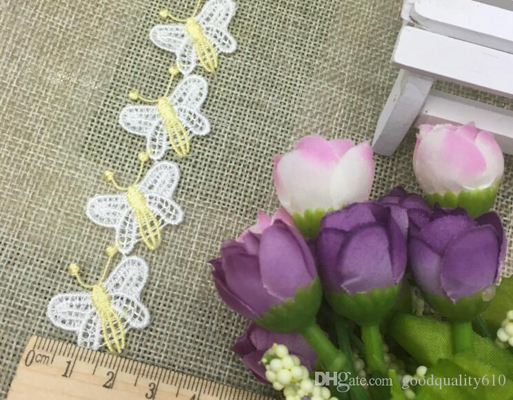20Yard Embroidered Butterfly Lace Cotton Fabric Trim For Sewing Apparel Dress Doll Cap DIY