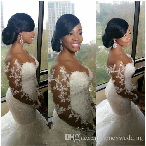 2016 Sexy Off Shoulder Mermaid Wedding Dresses With Long Sleeves Lace Appliques Plus Size Wedding Gowns Cheap Custom Vestidos De Noiva 2017