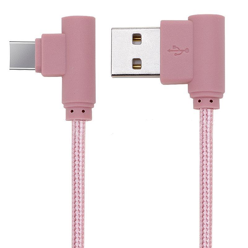 Cavo ad angolo retto TYPE C Cavo USB micro intrecciato 2A Cavo di ricarica caricabatterie rapido 1M 2M 3M a 90 gradi Samsung CAB202