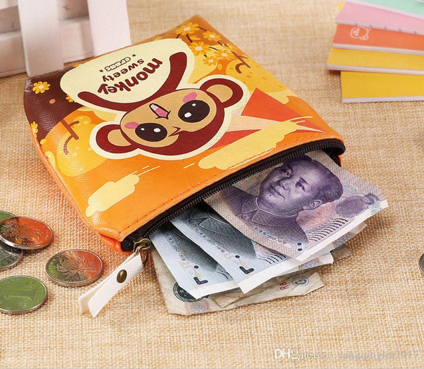 Cute Women coin Purses Cartoon Monkeys Coin Bag Wallet Waterproof Key Holder Small Pocket Kids Gift