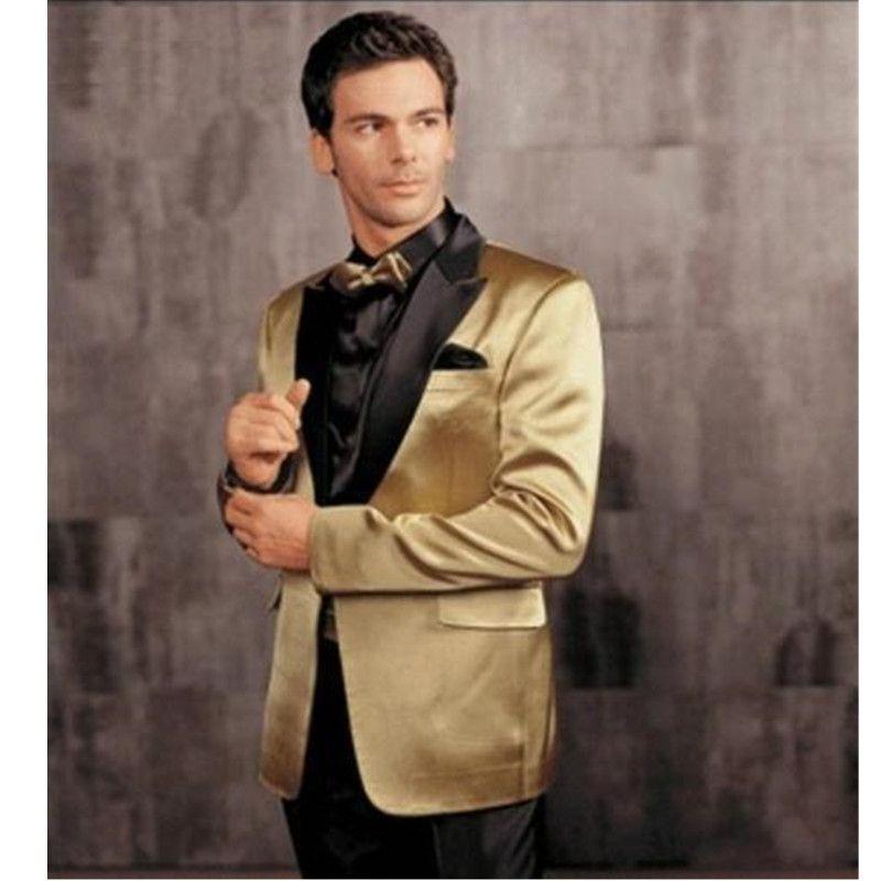 2018 Gold Jacket Black Pants Groom Tuxedos Best Man Suit