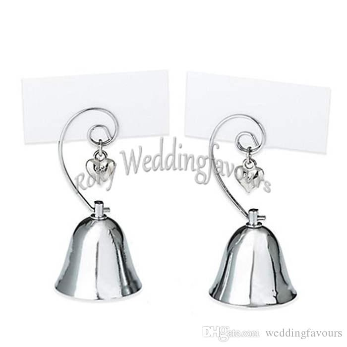 Wholesale Wedding Favors Party Table Supplies Silver Chrome Charming Bell Place Card Holder w/ Dangling Heart Charm