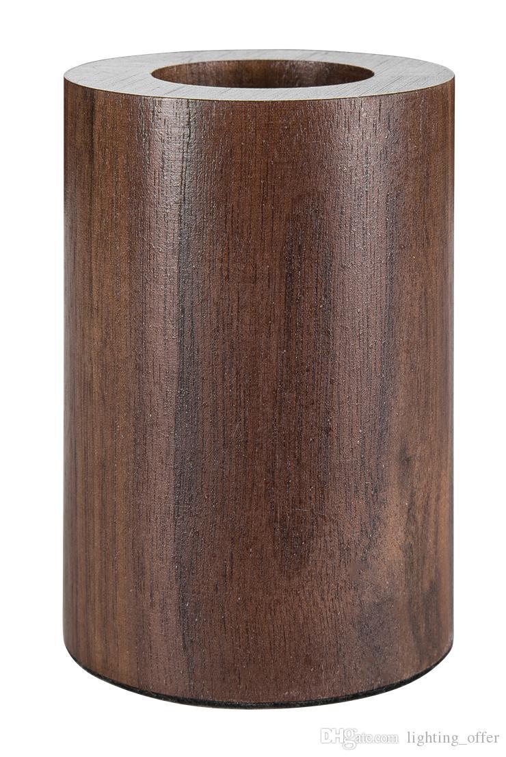 Lampade da tavolo in noce nero circolare in legno personalità creativa lampada da tavolo retro nostalgia luci E27 lampada a LED