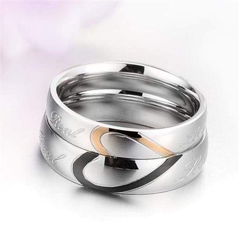 2527148242 Heart Shape Matching Titanium Steel Lovers Promise Ring Couple Wedding  Bands rings