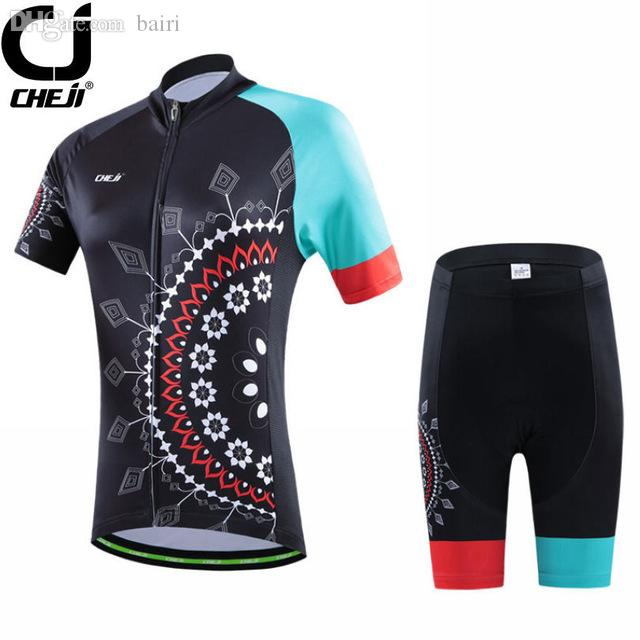 Wholesale-Top Quality CHEJI Womens Ropa Ciclismo Team Wear Cycling Jersey + Shorts  Set Bike Bicycle Clothes Suit Ged Padded Bicycle Clothes Bicycle Saddle ... 579d36a1e