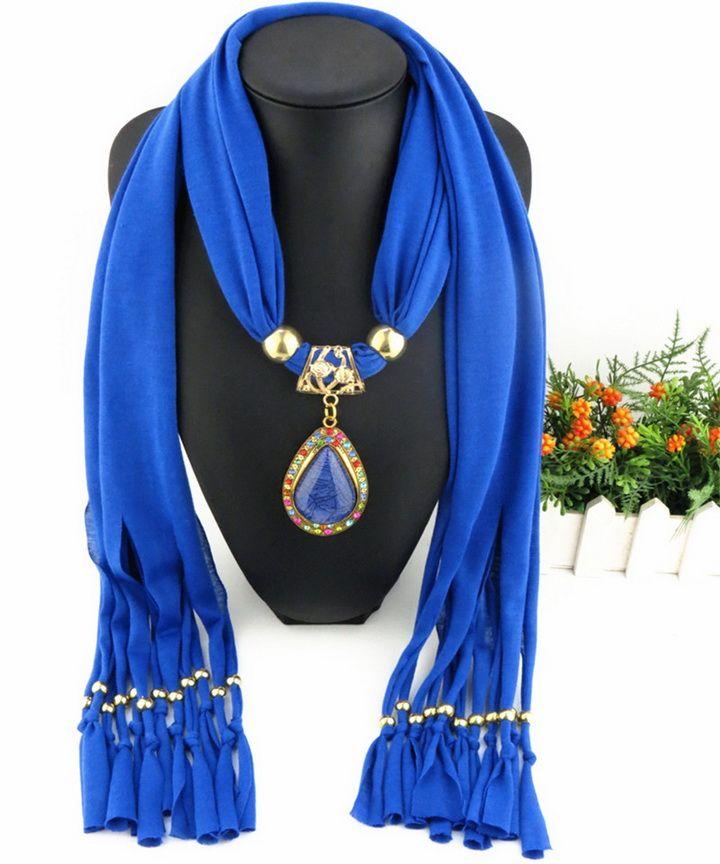 Latest Cheap Fashion Women Scarf Direct Factory Colored Rhinestones Drop Pendant Scarves Winter Elegant Ladies Scarf