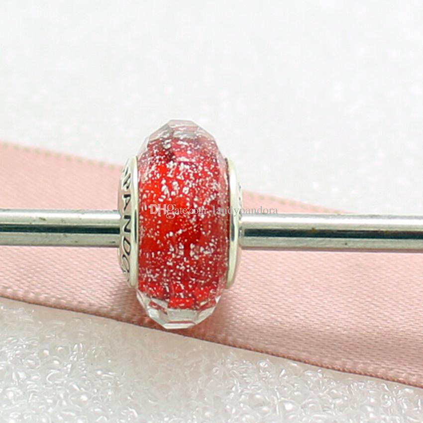 5 stücke 925 Sterling Silber Gewindeschraube Rot Schimmernde Facettierte Murano Glasperlen Fit Europäischen Pandora Stil Charme Schmuck Armbänder Halskette