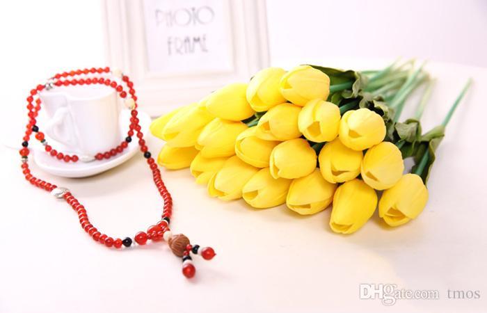 Tulipes Latex artificiel PU bouquet de fleurs fleurs toucher réel pour la décoration Accueil Fleurs mariage décoratif 11 couleurs Option