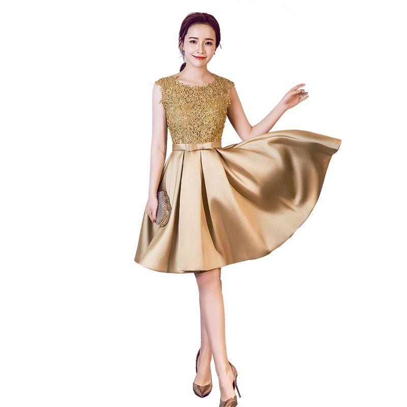 Scoop Neck Lace Satin Bridesmaid Dress Gold Burgundy 2018 Short