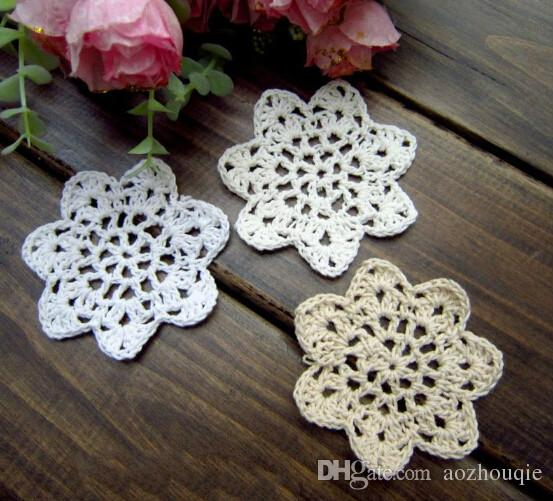 Wholesale 13 colors 7cm round crochet table mat cotton cup pad doily coaster with flower mat as props mat
