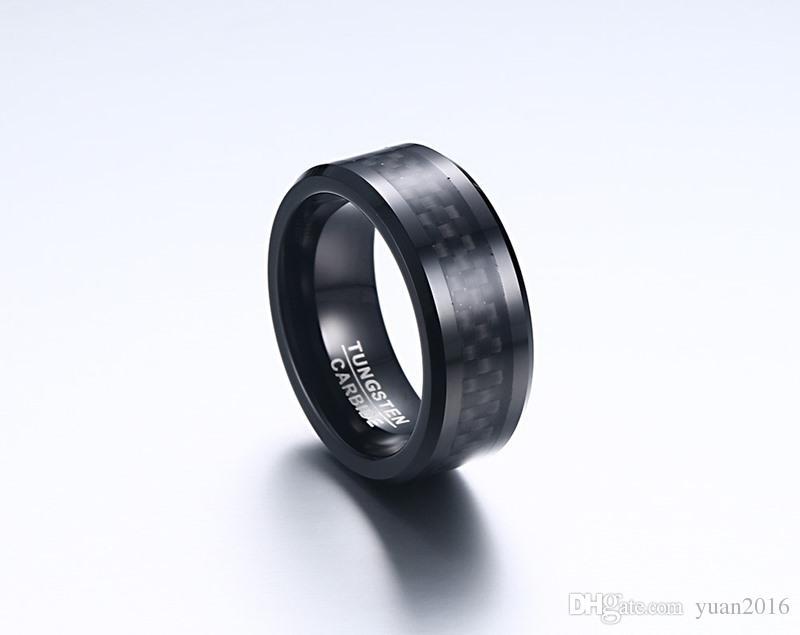 결혼 반지 Beveled Edge 8mm Comfort Fit Mens 검은 텅스텐 카바이드 Weeding Band Ring with Black Carbon Fiber