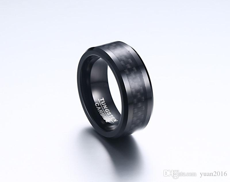 Wedding Ring Beveled Edge 8mm Comfort Fit Mens Black Tungsten Carbide Weeding Band Ring With Black carbon fiber
