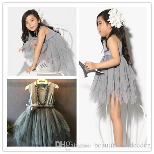 2016 розничная детские дети малыш девочка одежда без рукавов цветок пачка платье Платье партии с бантом 2-7Y