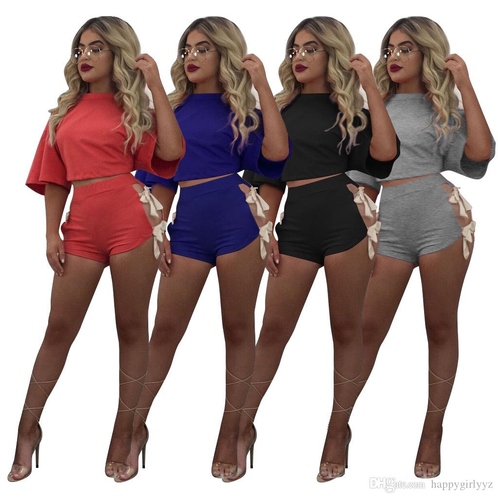 fca6bfa4d816c Europe Fashion Sexy Girl Lacing T Shirts Shorts Two Piece Sets Plus Size  Women Summer Novelty Open Fork Shorts Sport Suits Europe Fashion Sexy  Novelty Girl ...