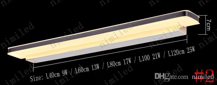 Nimi711 L40 cm / 42 cm / 62 cm / 72 cm / 80 cm / 100 cm LED Miroir Lumières Salle De Bains Lampe de Toilette Imperméable Anti-brouillard Coiffeuse Miroir Avant Mur Éclairage