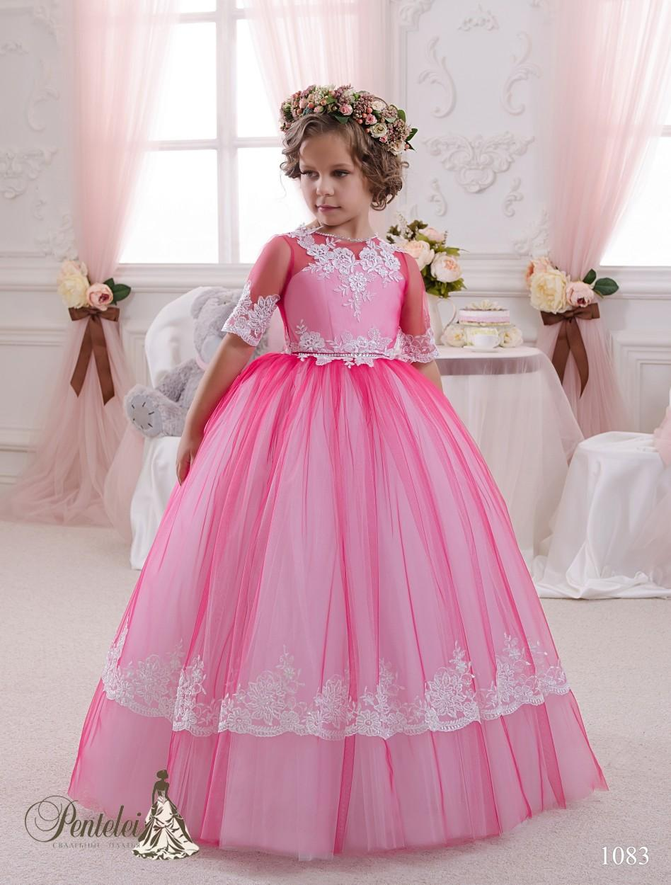 2016 Kids Prom Dresses with Half Sleeves and Buttons Back Lace Appliques Red Tulle Princess Flower Girls Gowns Custom Made
