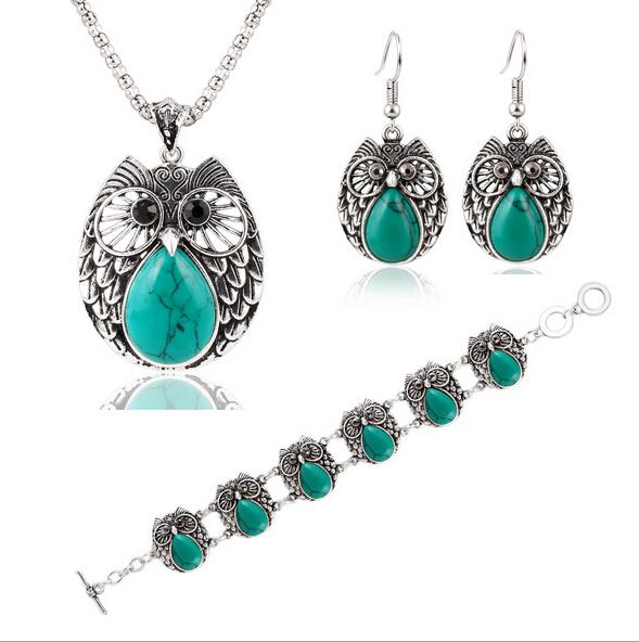 European and American fashion trend of metal owl turquoise bracelet jewelry earrings necklace three-piece fitted suit female