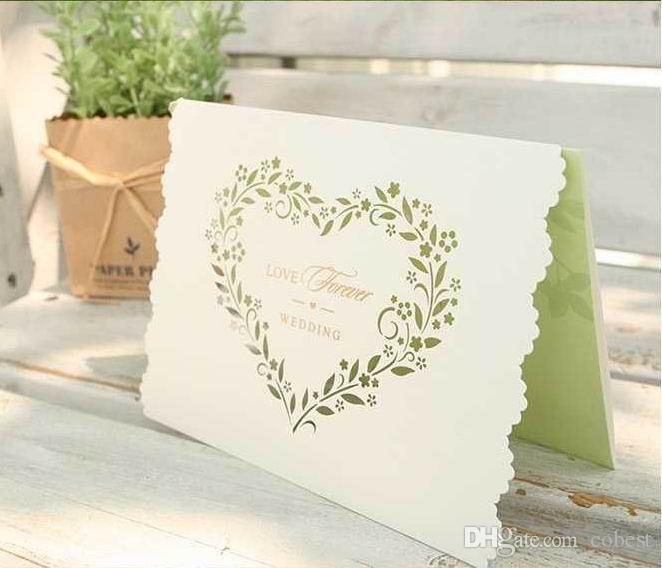Printing Your Own Wedding Invitations: Wedding Invitations Cards Hollow Heart Shape Wedding