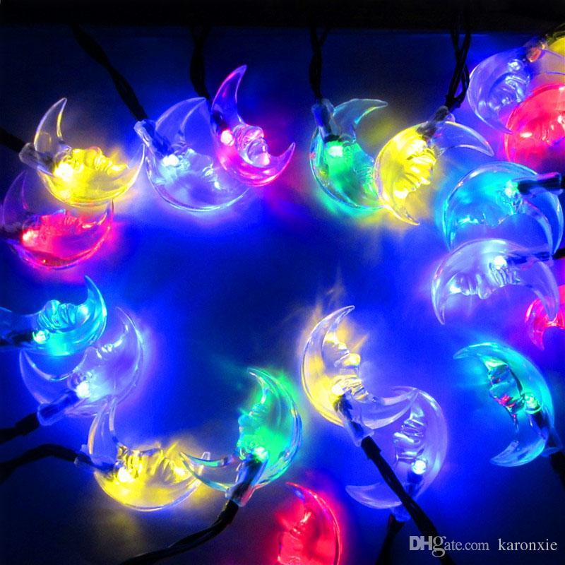 20leds solar moon shape string lights multicolor christmas fairy lights outdoor waterproof festival lights for garden decoration pink string lights blue