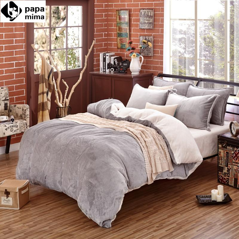 Fabric For Bedding papa&mima simple solid winter thick fleece fabric bedding sets 3