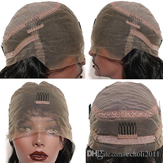 360 dentelle front perruque pré plissé vague lâche sans colle vierge péruvienne cheveux avant perruque de lacet pour les femmes noires 150% de densité sans navire