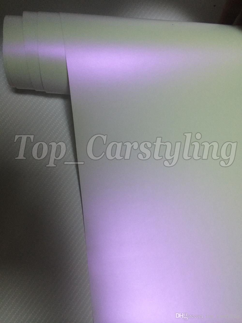 Chameleon Pearlescent Matte White Purple Wrap With Air Release Satin pearl white Matt Film For Car Wrap styling skin size 1.52x20m/Roll