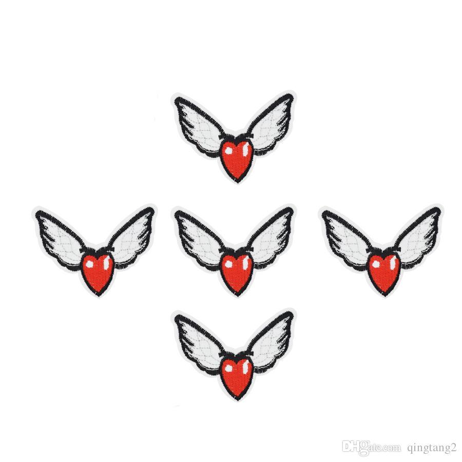 10 UNIDS alas parches de bordado en forma de corazón para la ropa parche de hierro para la ropa apliques accesorios de coser pegatinas en hierro de la ropa en el parche