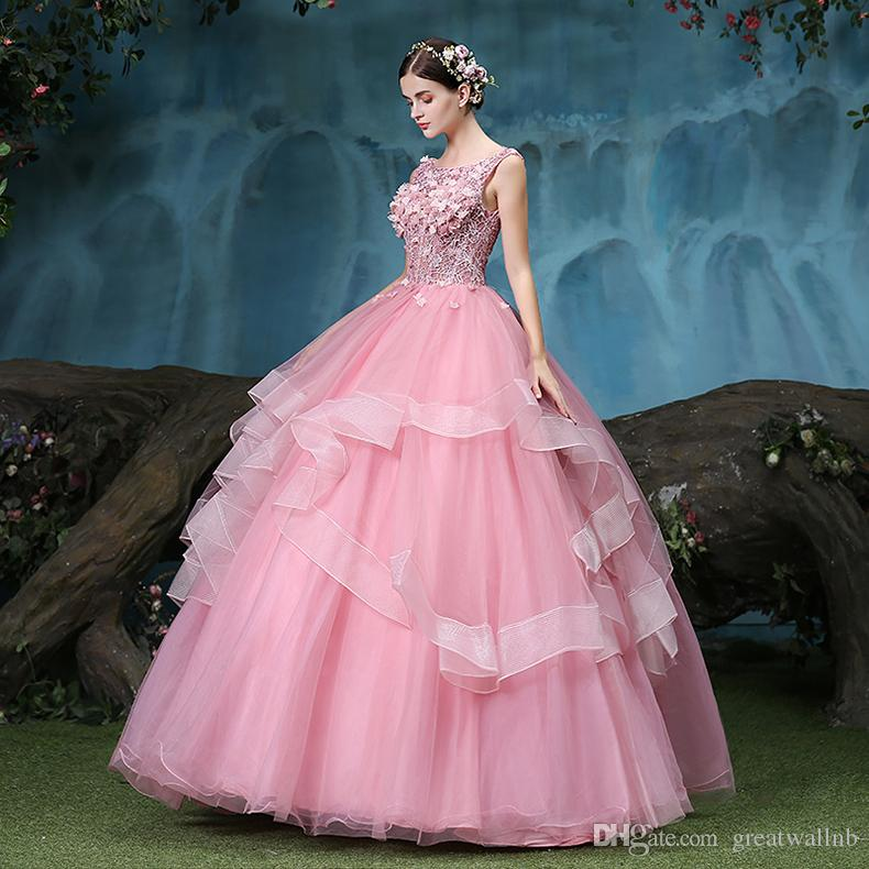 Compre 100% Real De Color Rosa Claro Encaje De Flores Con Volantes ...