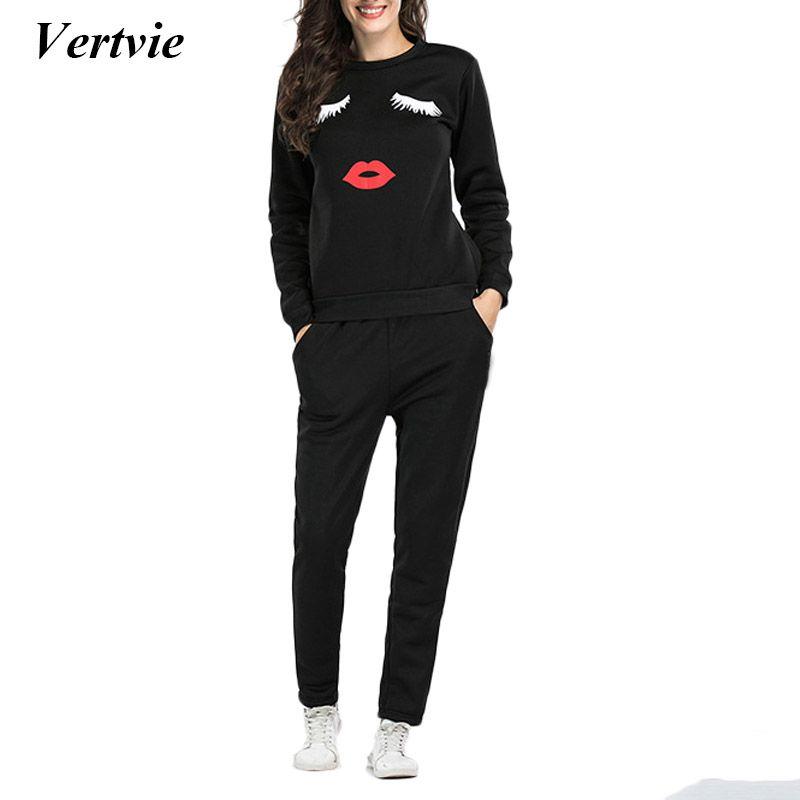 631adfae8624 Wholesale- Vertvie Fleece Sport Suit Lips Printed Women's Tracksuit ...