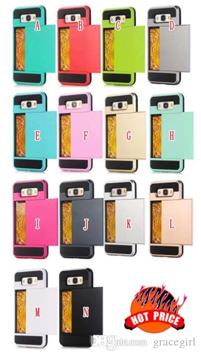 Custodia Ibrida ID Credit Cards Box Samsung Galaxy A310 A510 A710 A5 A5 A7 Core Prime G360 NOTE4 S5 Custodia scorrevole TPU PC Cover rigida PC