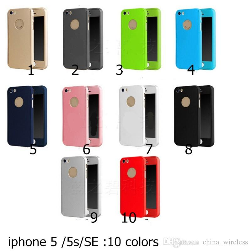 Fully covered case For iPhone SE 5 6 6S 6 plus Hybrid Hard PC 360 Degree Full Body Protection Cover Case +Tempered glass