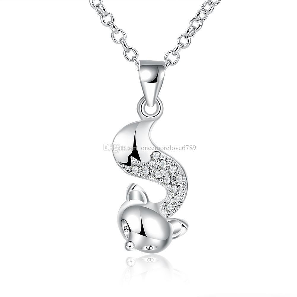 زركون قلادة الفضة مطلي تصميم حيوان لطيف فوكس شكل قلادة قلادة جميلة العصرية مجوهرات لفتاة النساء سترة سلسلة طويلة