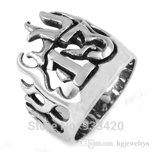 ! Flame Lucky 13 Ring Motor Biker Ring Stainless Steel Jewelry Punk Crown Ring SWR0149B
