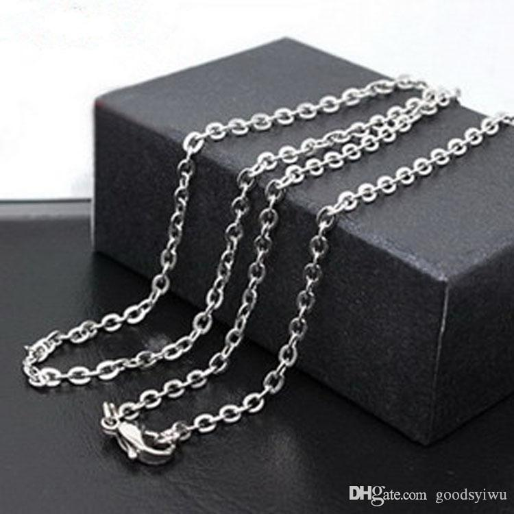 Chaîne en argent 925 1 mm 18 pouces O chaîne collier / chaîne en acier inoxydable Fit Fit bricolage colliers cadeau de Noël C001