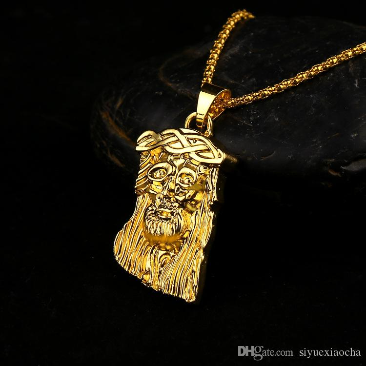 New style Hip Hop JESUS Christ Pendant Necklace With Corn Chain 24K Gold Plated, hign quality