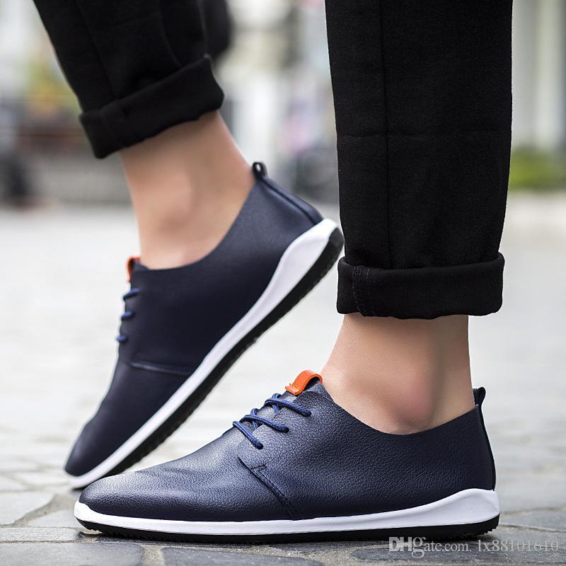 Erkek Ayakkabıları Nefes Mikrofiber Deri erkek Rahat Ayakkabılar İş Erkekler Ayakkabı Saf Renk Rahat Yaz Moda Ayakkabı