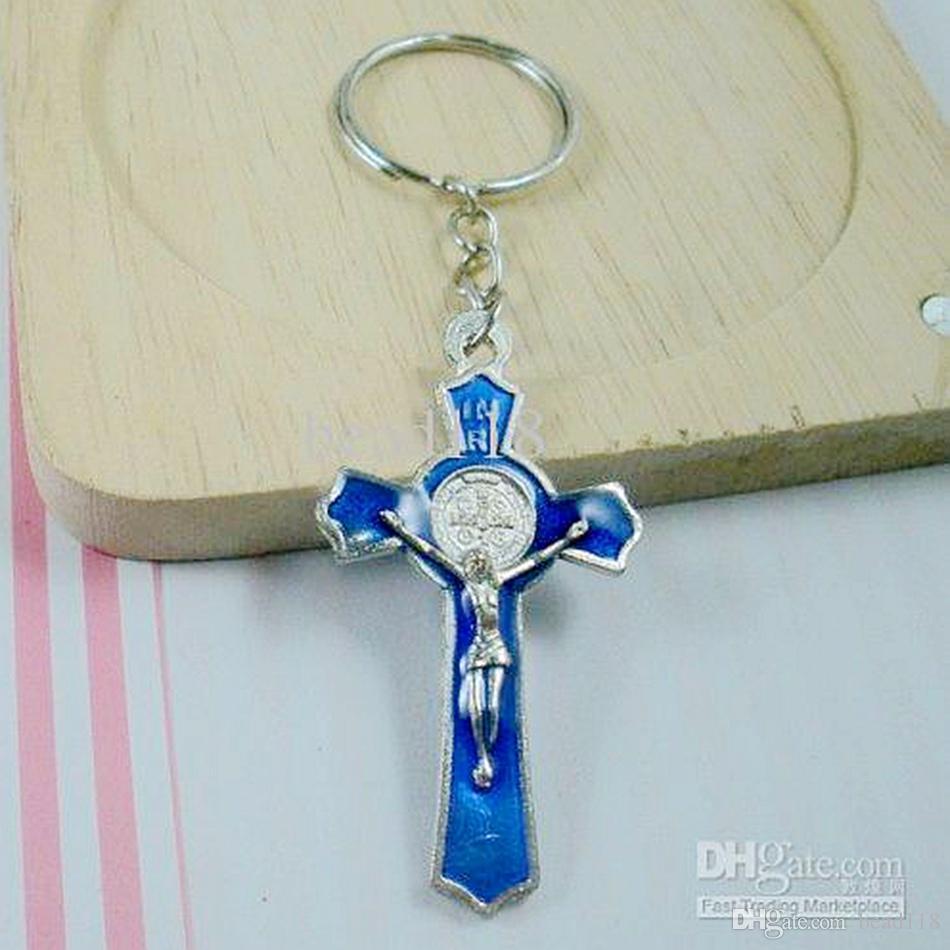 MIC 60 Unids Azul Esmalte de Aleación de color Jesucristo Jesus Cross encanto Llavero de cadena de Joyería de DIY