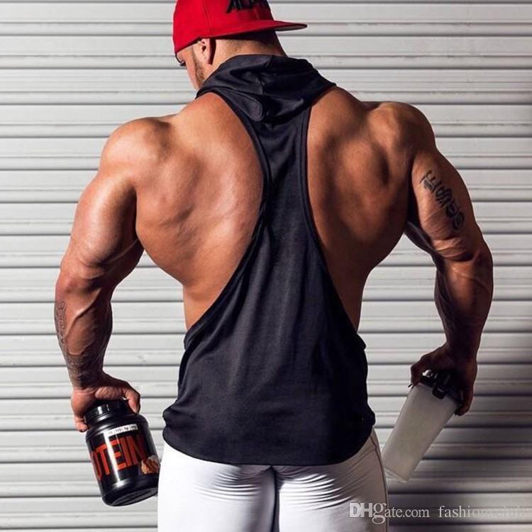 Mens Longarina Bodybuilding Regata Sólida colete de fitness Ginásio Tanques Singlet de Algodão Roupas de Fitness Y-Back Tanques Atacado Frete Grátis