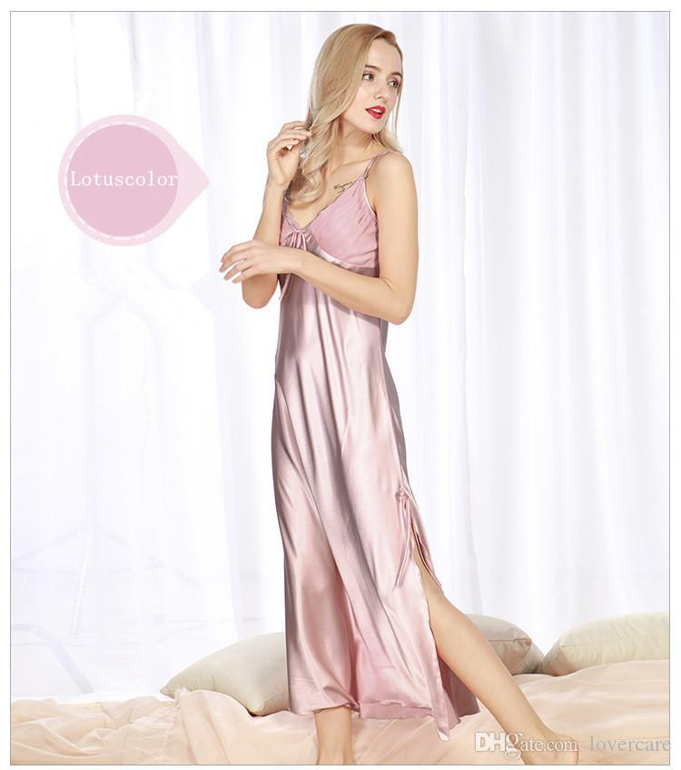 Imitation silk pajamas spring and summer ladies long paragraph split split sexy sling sleep dress sexy home service