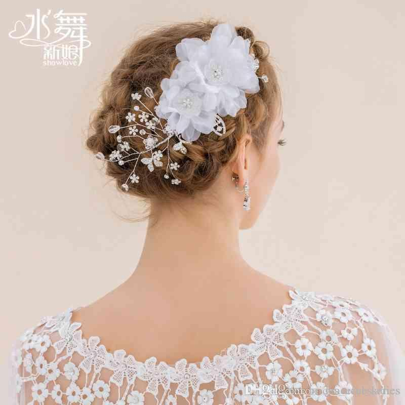 White organza flower hair accessories crystal tassel bridal accessories wedding hair pieces headpiece fascinators hats short hair flowers see larger image mightylinksfo