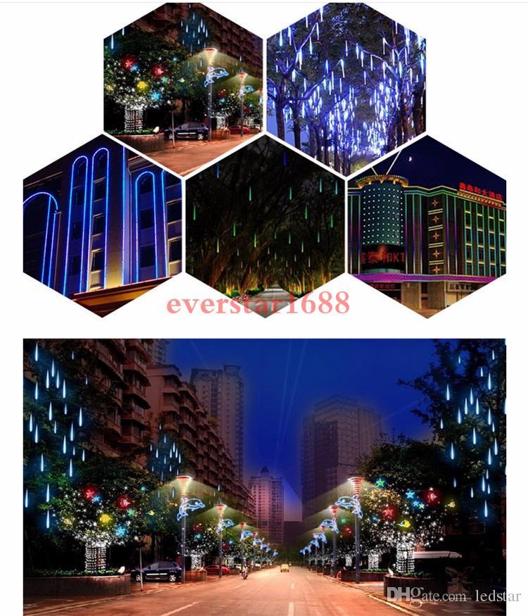 30cm 50cm 80cm 2835 SMD 유성우 샤워 비 옥외 LED 관 끈 크리스마스 요정 빛 점화 10Tubes 방 장식 파티 장식을 % s