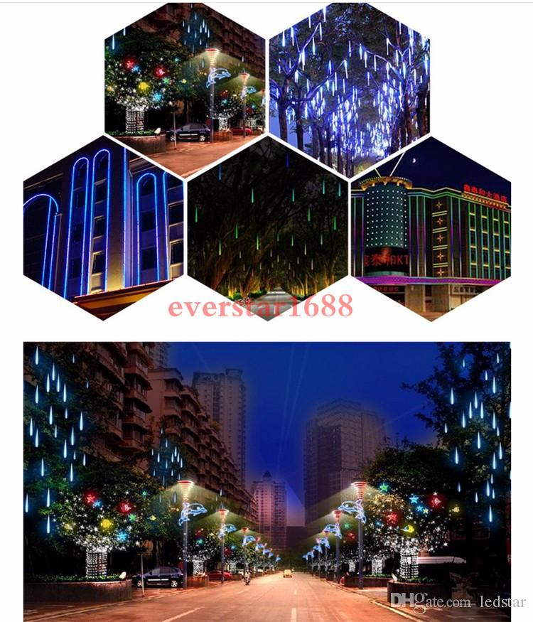 30cm 50cm 80cm 2835 SMD Meteor Shower Rain Outdoor LED Tube Strings Christmas Fairy Light Lighting 10Tubes Waterproof for Party Decoration
