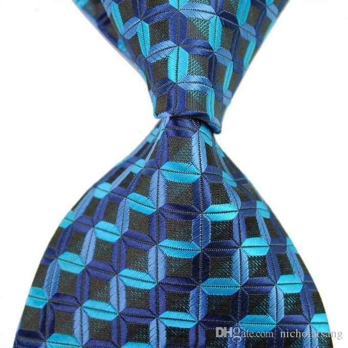 8 스타일 새로운 클래식 스트라이프 남자 블루 넥타이 자카드 직물 100 % 실크 검정과 녹색 공식 비즈니스 넥타이 무료 배송