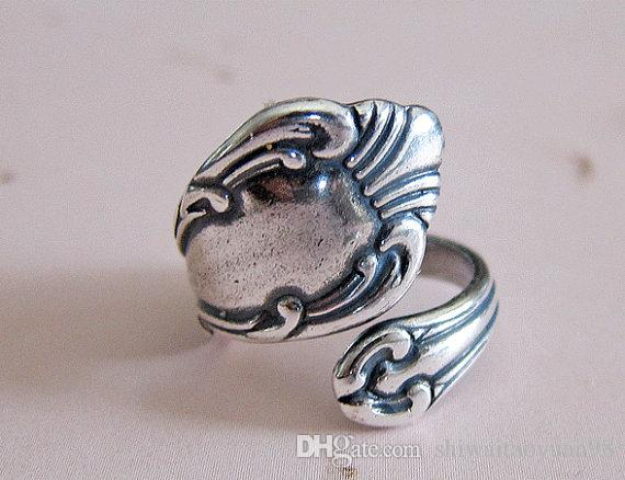 Antiqued Silver Spoon Ring Anel ajustável Thumb Fashion Jewelry Ring