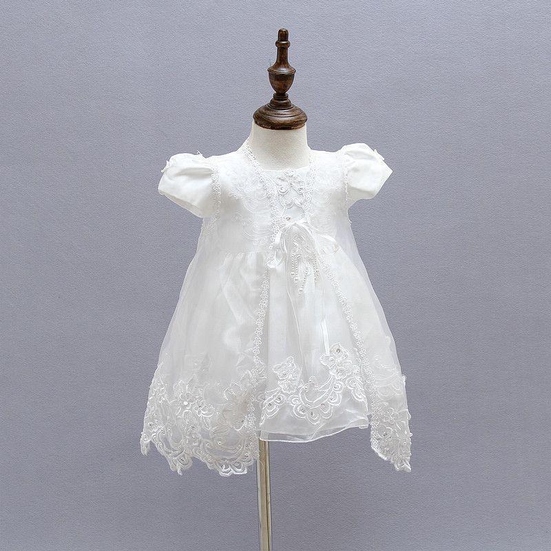 Retail Girl Dresses Children Dress Party Summer Princess Baby Girl Wedding Dress Hat Birthday For 3-24M