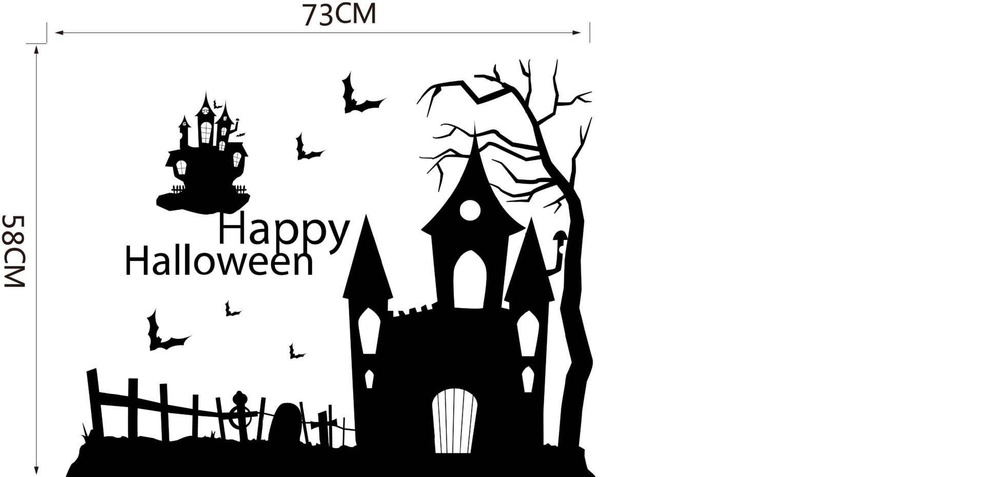 Black Ghost Castle Trees Bat Wall Stickers for Halloween Store Window Glass Decor Art Mural Poster Happy Halloween Wall Applique Quote Art