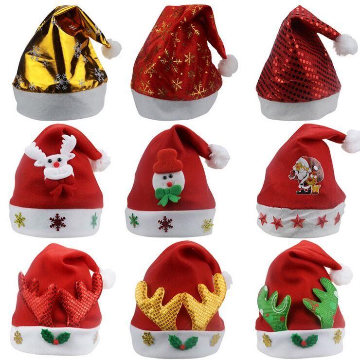 2018 kids christmas hats unique paillette parent child santa claus caps children girls boys winter headwear christmas gift decoration from sunny205401