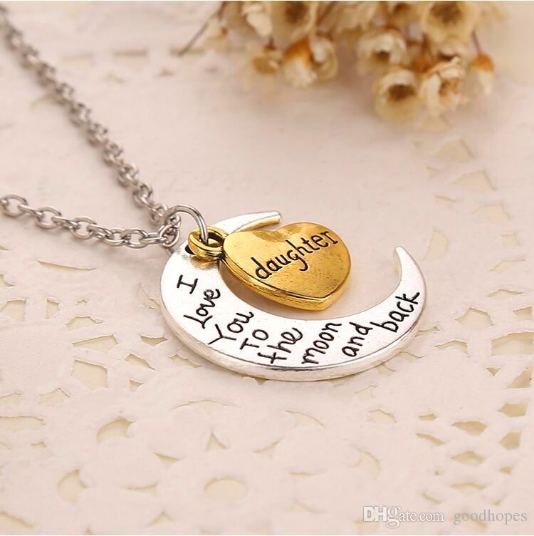 Vintage Moon Halskette Ich liebe dich bis zum Mond und zurück für Mama Papa Schwester Bruder Familie Anhänger Gliederkette Muttertag Geschenk