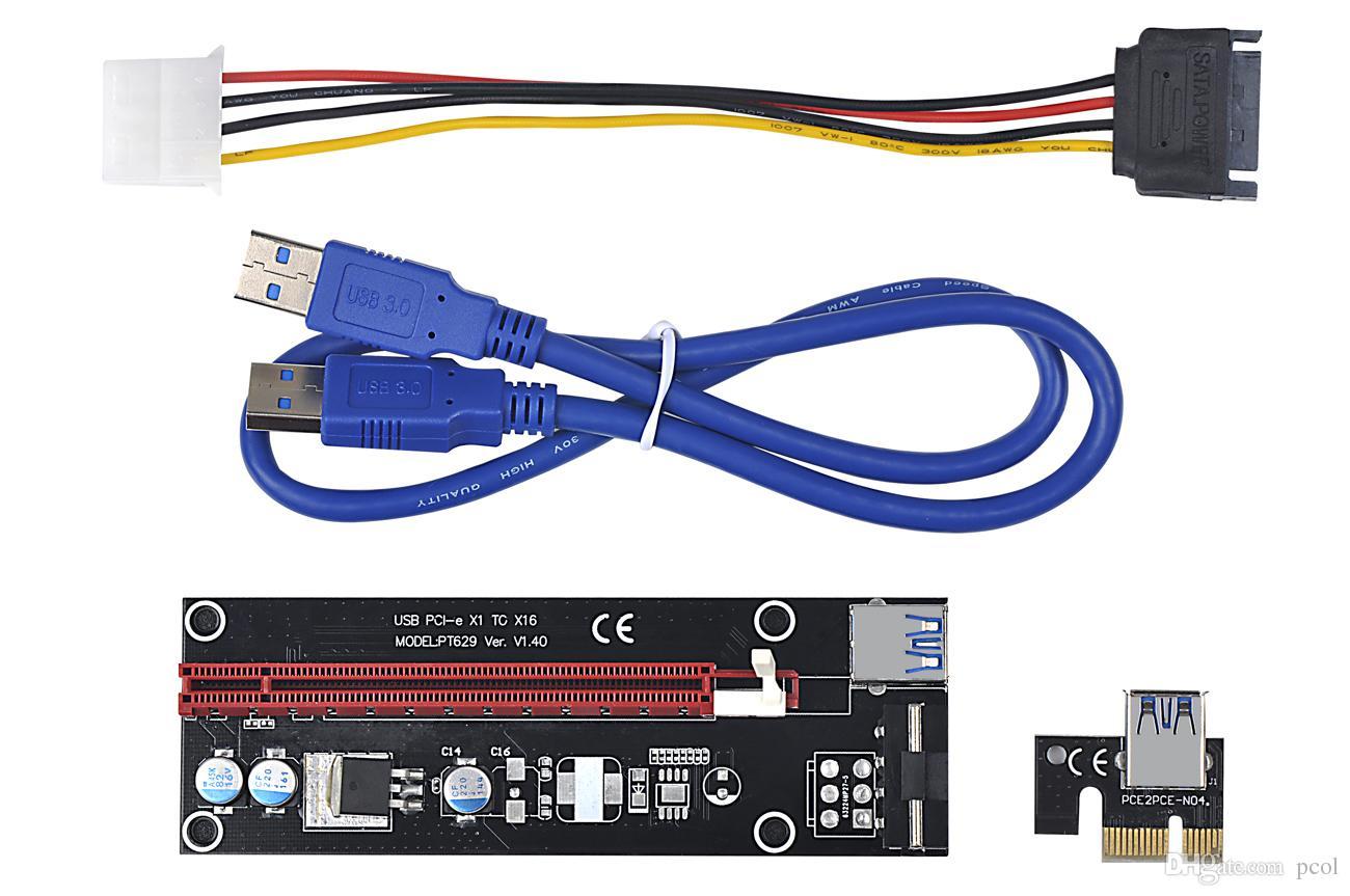 PCI-Express X1 till X16 Extender-kabel med stor 4pin strömförsörjning och USB 60cm   PCIE 1X till 16X Riser Card Adapter   För Bitcoin Mining